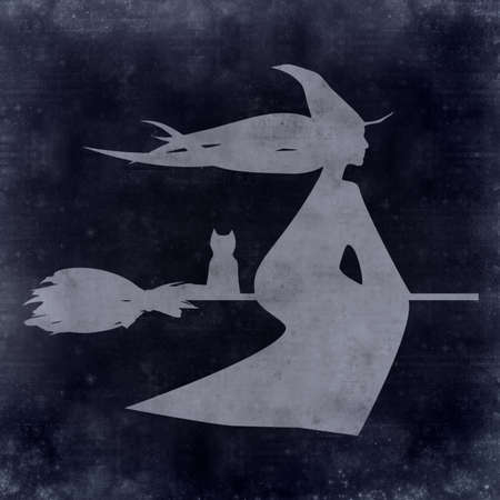 paper flying: textured old paper background with flying witch illustration