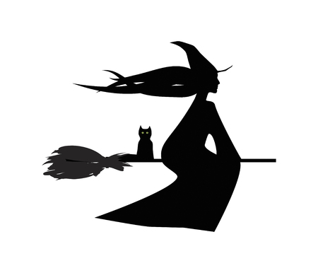 coven: flying witch and her cat digital illustartion, silhouette on white background