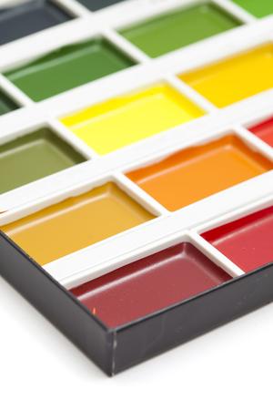untouched: new watercolor paints set, clean and untouched
