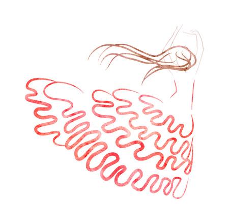 flamenco: Flamenco dancer figure, hand drawing and paper texture