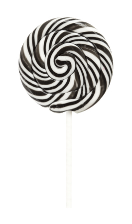 lolipop: Large black and white swirl lolipop isolated on white Stock Photo