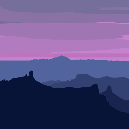 caldera: Illustrated Gran Canaria - sunset from Pico de Las Nieves, Roque Nublo, Roque Bentayga and Teide on Tenerife visible