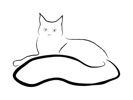 laying: laying cat illustration, sumi-e effect