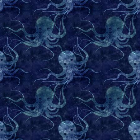 sea monster: seamless repeatable sea monster Kraken pattern with paper texture , dark blue version Stock Photo