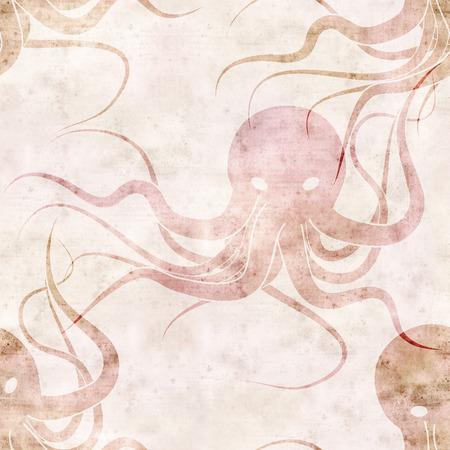 sea monster: seamless repeatable sea monster Kraken pattern with paper texture