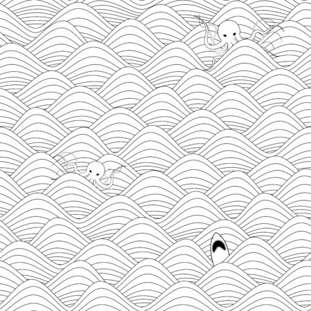great white: repeatable seamless graphic background with waves, giant octopuses and great white sharks in black and white
