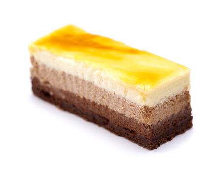 three chocolate mousse layer cake isolated on white background Stock Photo