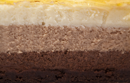 three layer: three chocolate mousse layer cake dessert food background
