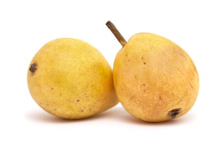 backgroud: small yellow pears isolated on white backgroud