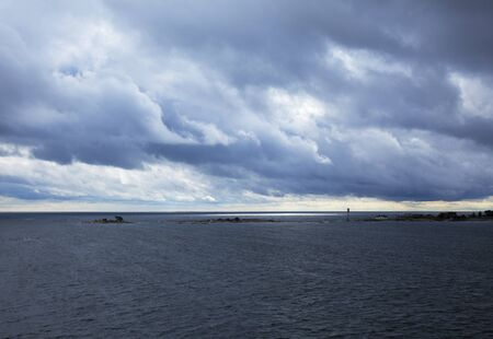 heavily: Baltic Sea, Gulf of Finland, heavily overcast summer day