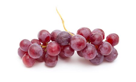 clusters or purple grapes isolated on white background