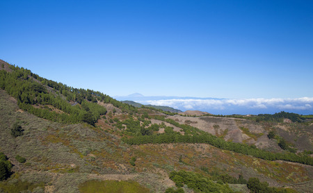 Central Gran Canaria, view north west over deep valley towards Teide on Tenerife