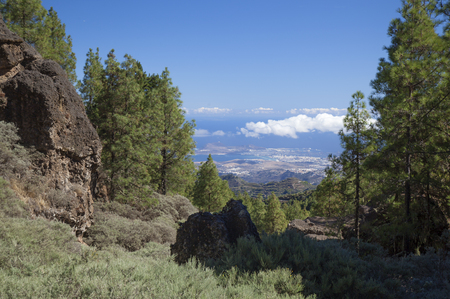 las palmas: Gran Canaria, hiking path Cruz de Tejeda - Teror, view towards Las Palmas in far distance Stock Photo