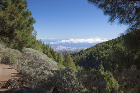 Gran Canaria, hiking path Cruz de Tejeda - Teror, view towards Las Palmas in far distance Stock Photo