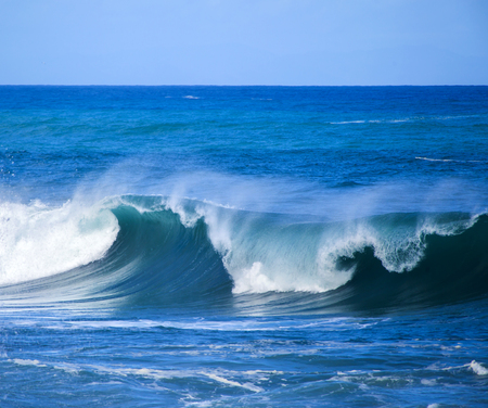 powerful: powerful ocean waves breaking natural water background Stock Photo