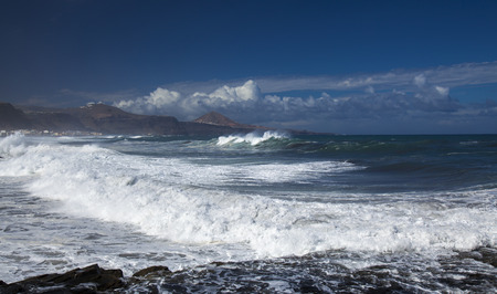 the collapsing: Gran Canaria, north coast, Banaderos - Quintanilla area, Montana de Galdar in the background Stock Photo