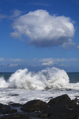 unstoppable: Gran Canaria, north coast, Banaderos - Quintanilla area, flying sea foam Stock Photo