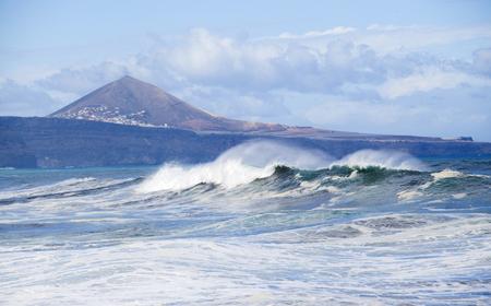 Gran Canaria, north coast, Banaderos - Quintanilla area, Montana de Galder in the background Stock Photo