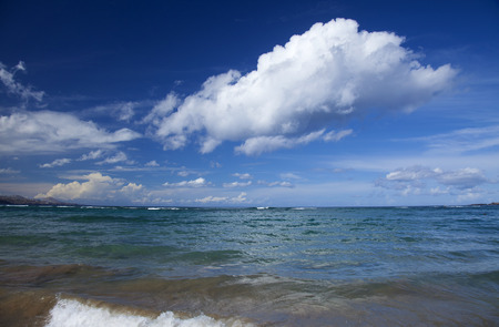 las palmas: Gran Canaria, beautiful light clouds over ocean, Las canteras beach, Las Palmas de Gran Canaria Stock Photo