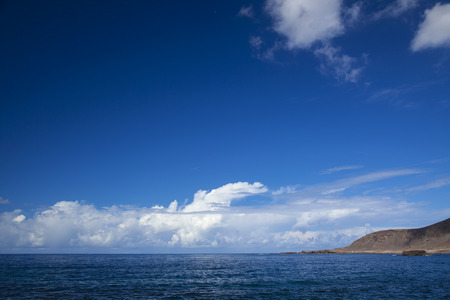 ocea: beautiful sky with light clouds over ocea natural background, Gran Canaria, view west from Las Canteras twon beach