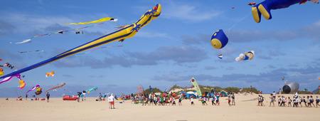 FUERTEVENTURA, SPAIN - NOVEMBER 11: School kids visiting 29th International Kite Festival, November 11, 2016 in Dunes of Corralejo, Fuerteventura, Spain