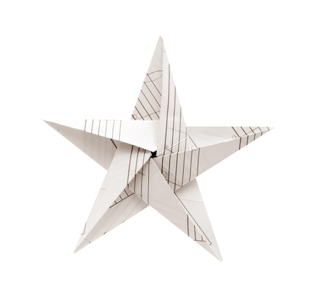folded paper star isolated on white background Stock Photo