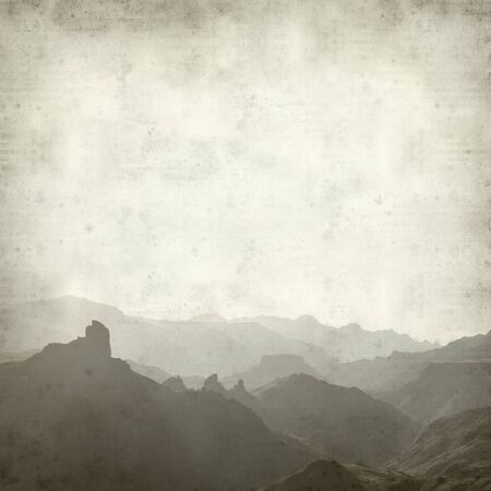 textured: textured old paper background with central Gran Canaria Landscape Stock Photo