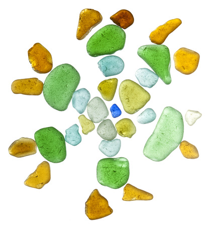 backlit sea glass peices isolated  on white background