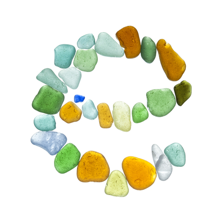 beachcombing: backlit sea glass peices isolated  on white background