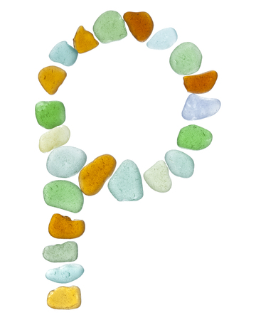 beachcombing: backlit sea glass pieces mosaic, drop cap letters Stock Photo