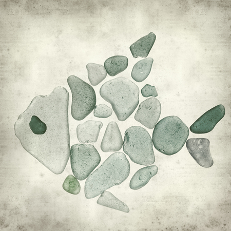 spot the difference: textured old paper background with sea glass pieces Stock Photo