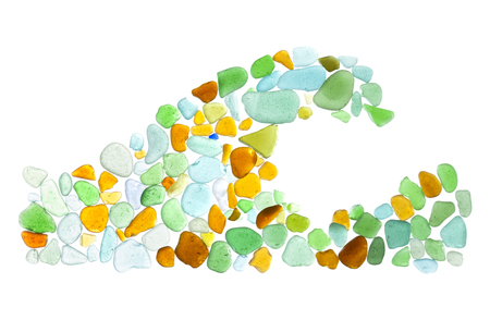 finding out: backlit sea glass peices isolated  on white background, shape of a wave