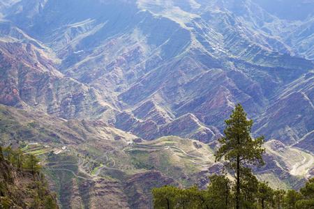 central Gran Canaria, view into a ravine Barranco del Silo from a path to Montana Altavista,