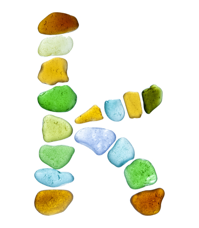 backlit sea glass peices isolated  on white background Reklamní fotografie - 71088258