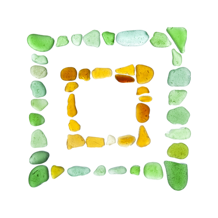 chinese characters made of sea glass, hui - to return