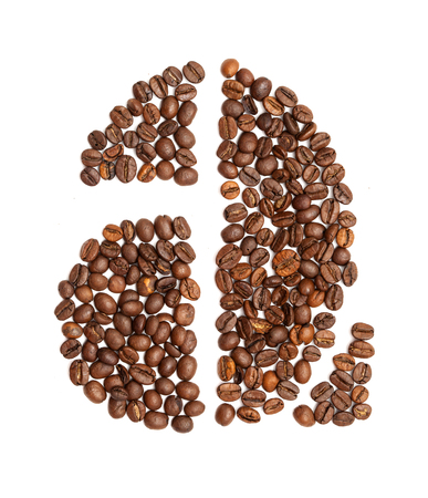Letter A made of medium-roast coffee bean on white