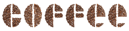 word coffee written in coffee beans typeface on white background Stock Photo