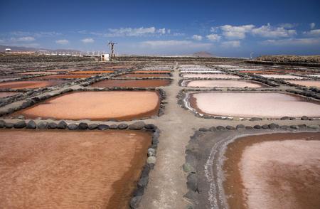 sata: Gran Canaria, Salt evaporation ponds Salinas de Tenefe, south east of the island, pink color created by  algae