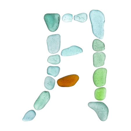 Chinese character yue - moon, current form, sea glass mosaic