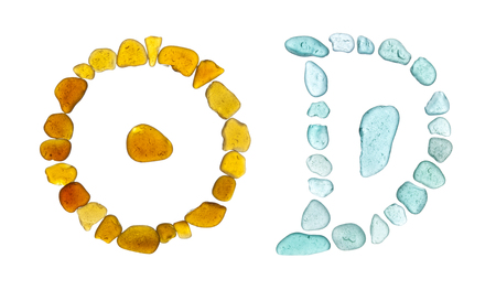 Chinese character ri - sun, on the left, and yue, moon, on the right, historic forms, sea glass mosaic Stock Photo