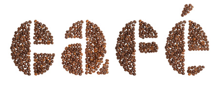 word cafe, Spanish for coffee, written in coffee beans typeface, on white