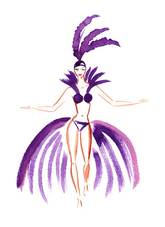 Carnival dame in purple feathers watercolor sketch on white background Stock Photo