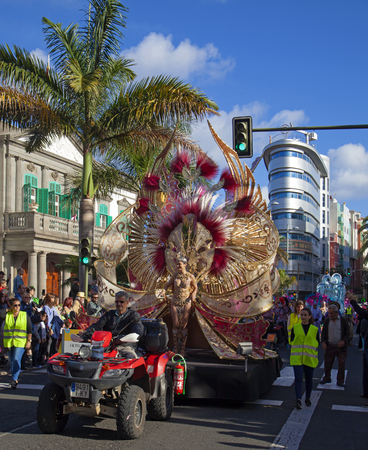 Las Palmas de Gran Canaria, Spain - March 04: Participants and viewers enjoy  Main Carnival Parade, March 4, 2017  in Las Palmas de Gran Canaria, Spain