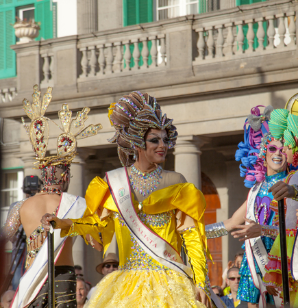 Las Palmas de Gran Canaria, Spain - March 04: Drag Queen and Competition finalists group at Main Carnival Parade, March 4, 2017  in Las Palmas de Gran Canaria, Spain Stock Photo