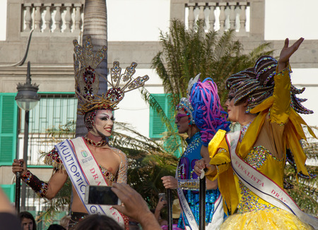 Las Palmas de Gran Canaria, Spain - March 04: Drag Queen and Competition finalists group at Main Carnival Parade, March 4, 2017  in Las Palmas de Gran Canaria, Spain Editorial
