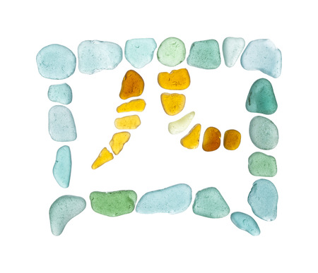 finding out: Chinese character si - four, sea glass mosaic Stock Photo