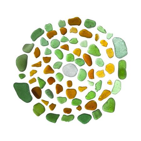 sea glass mosaic - labyrinth on white background Stock Photo