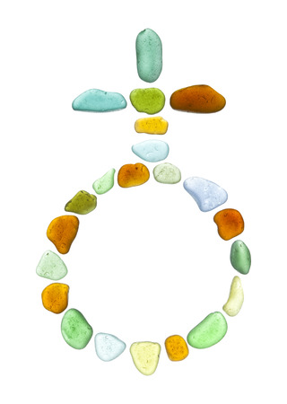 sea glass mosaic - planet Earth astrological symbol on white