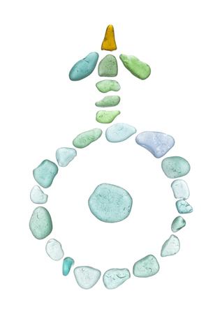 sea glass mosaic - planet Uranus astrological symbol on white
