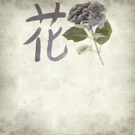 Chinese Or Japanese Symbol For Flower Color Ink Calligraphy Stock